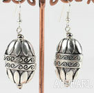 Lovely 20*35 Mm Engraved Ccb Silver Like Dangle Earrings With Fish Hook
