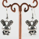 Lovely rabbit animal shape CCB silver like earrings