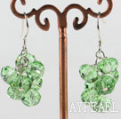 Wholesale trendy manmade cluster style green crystal earrings