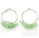 Wholesale trendy manmade light green crystal hoop earrings