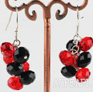 trendy manmade cluster style black and red crystal earrings