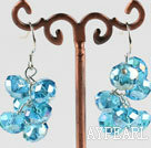 Wholesale trendy manmade cluster style blue crystal earrings