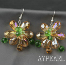 Wholesale Fashion Style Champagne Series Champagne and Colorful Crystal Flower Earrings