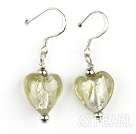 light yellow heart shape colored glaze earrings