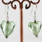 Fashion 8*12Mm Green Heart Shape Colored Glaze Dangle Earrings