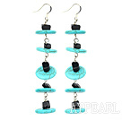 Wholesale dangling style turquoise and black stone earrings