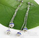 dangling style blue color rhinestone long earrings