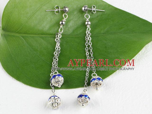 dangling style blue color rhinestone long earrings