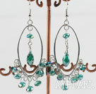 lovely green manmade crystal loop earrings