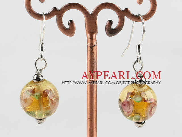 lovely ball shape yellow colored glaze earrings