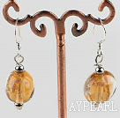 lovely round shape light yellow colored glaze earrings