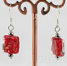 Wholesale lovely square shape red colored glaze earrings