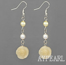 pearl and yellow jade carved flower earrings