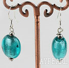 Lovely Flat Round Blue Colored Glaze Dangle Earrings With Fish Hook