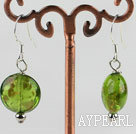 Wholesale lovely round shape green colored glaze earrings