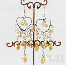 heart chandelier style drop shape yellow crystal earrings