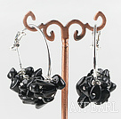 Fashion Carved 6-7Mm Black Obsidian Chips Dangle Earrings With Large Ear Hoops