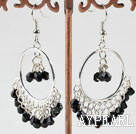 Fashion Large Loops 4Mm Black Crystal Dangle Earrings With Fish Hook