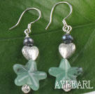 Wholesale black pearl and star shape aventurine earrings with heart charm