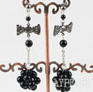 Wholesale dangling black agate stone earrings with butterfly tie shape rhinestone
