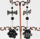 Wholesale dangling black agate stone earrings with butterfly tie shape rhinestone