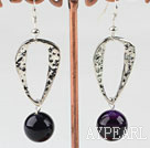 Fashion 14Mm Round Purple Agate Ball And Large Loop Charm Dangle Earrings