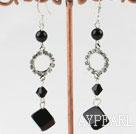 Wholesale dangling black agate stone earrings with rhinestone