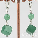 Lovely Faceted Round And Cubic Shape Aventurine Dangle Earrings With Lever Back Hook