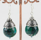 Wholesale 16mm round phoenix stone earrings with tibet silver cap