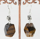 chunky tiger eyes earrings with leaf charm