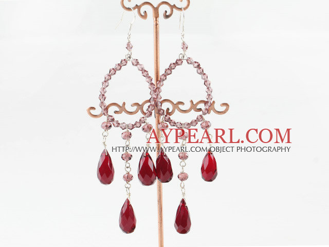chandelier style drop shape red crystal earrings