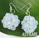 Wholesale popular cluster style 6*8mm opal earrings