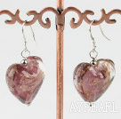 light red heart shape colored glaze earrings