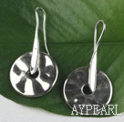 disc shape CCB silver like earrings
