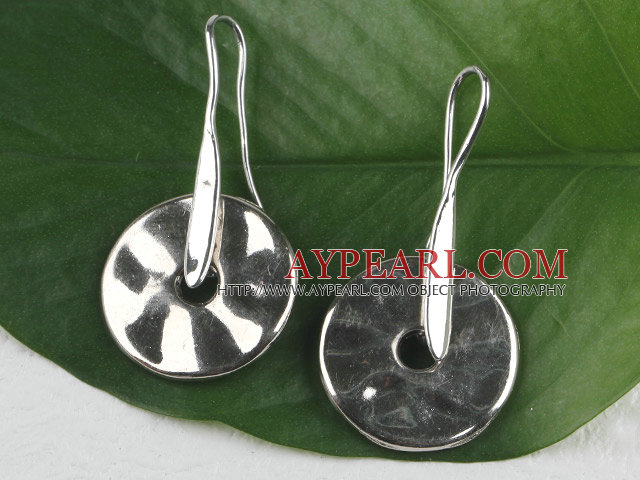 Lovely Simple Style Disc Shape Ccb Silver Like Dangle Earrings With Fish Hook