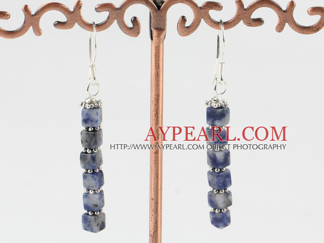Cute Layer Style 4Mm Square Shape Sodalite Dangle Earrings With Fish Hook