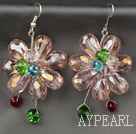 Wholesale Fashion Style Pink Series Pink and Colorful Crystal Flower Earrings