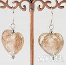 Wholesale light brown heart shape colored glaze earrings