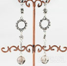 lovely dangling style smoky quartze earrings with rhinestone