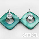 noble rhinestone and green shell earrings