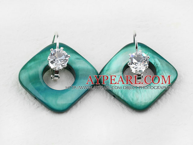 noble rhinestone and green shell earrings