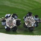 lovely black and white crystal earrings