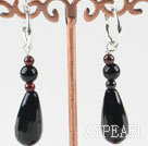 Wholesale lovely garnet and drop shape black agate earrings