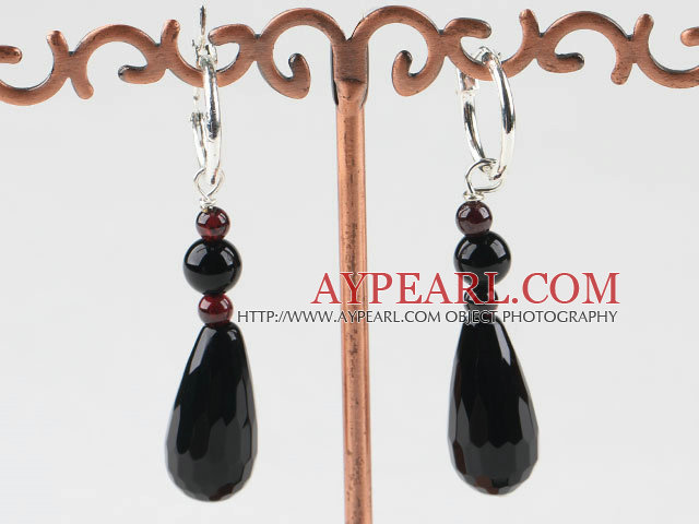 lovely garnet and drop shape black agate earrings