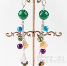Wholesale lovely dangling style colorful agate ball earrings