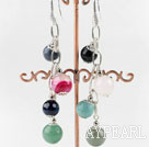 Wholesale lovely dangling style colorful gemstone ball earrings