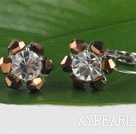 Wholesale lovely brown and white crystal earrings