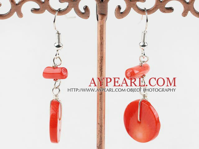 Lovely Disc And Cylinder Shape Red Coral Dangle Earrings With Fish Hook