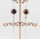 Wholesale dangling style 10mm agate beads earrings