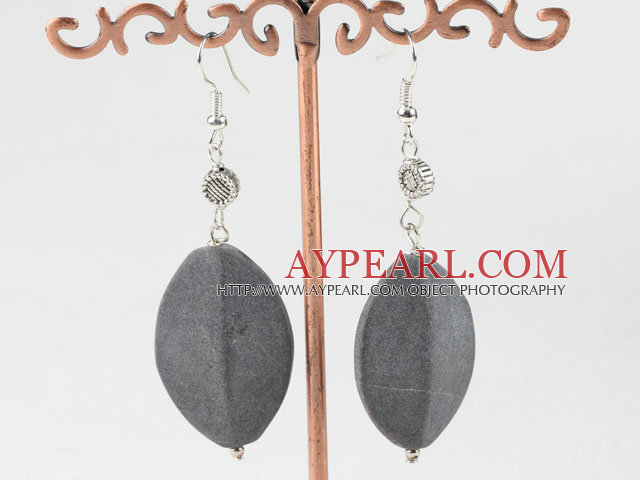 gray color stone needle and sunflower charm beads earrings